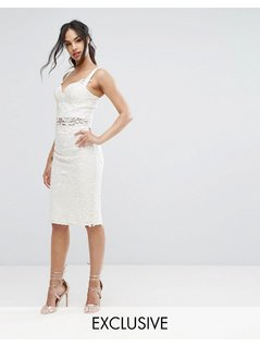 Chi Chi London Crochet Lace Pencil Skirt Co Ord - White