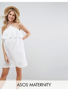 ASOS Maternity Beach Embroidered Sun Dress - Blue