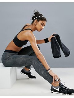 Nike Linear Printed Leggings In Grey - Grey