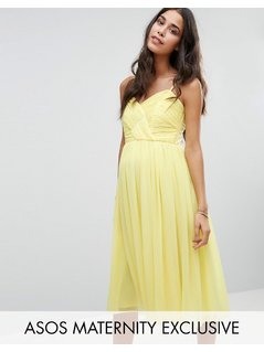 ASOS Maternity WEDDING Ruched Midi Dress - Yellow