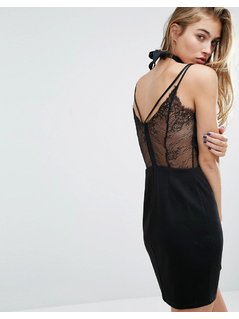 Miss Selfridge Lace Back Cami Dress - Black
