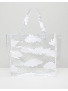 Lazy Oaf Clear Cloud Print Tote Bag - Clear