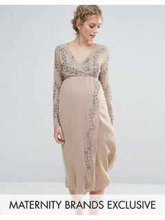 Maya Maternity Embellished Wrap Midi Dress - Pink