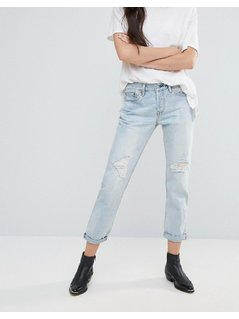 Levi's 501 CT Old Favourite Rip Boyfriend Roll Up Jeans - Blue
