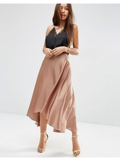 ASOS Midi Skirt in Satin with Splices - Gold