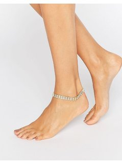 ASOS NIGHT Crystal Anklet - Clear