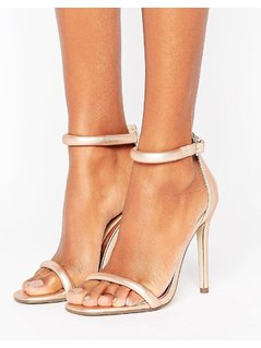 Missguided Rounded Strap Barely There Heeled Sandal Rose Gold - Pink