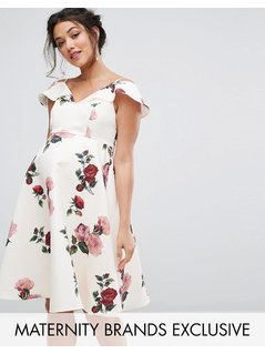 Chi Chi London Maternity Floral Dress With Cold Shoulder - Multi