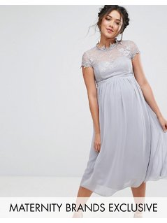 Little Mistress Maternity Lace Bodice Skater Dress - Grey