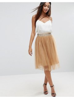 Boohoo Embellished Waist Band Tulle Skirt - Gold