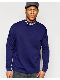 ASOS Oversized Sweatshirt With Stripe Turtle Neck In Blue - Navy
