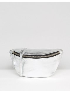 ASOS Leather Metallic Classic Bum Bag - Silver