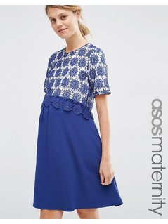 ASOS Maternity Lace Double Layer A-Line Dress - Navy