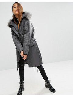ASOS Premium Padded Parka with Fur Lined Hood - Grey