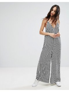 Noisy May Oversized Stripe Jumpsuit - Black