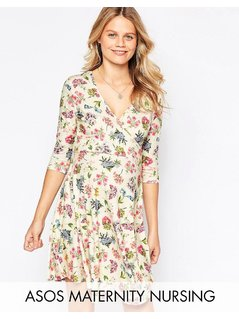 ASOS Maternity TALL NURSING Wrap Skater Dress In Floral Print - Multi