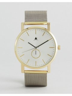 ASOS Watch With Mesh Strap in Silver With Gold - Silver