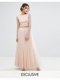 Maya Maxi Tulle Skirt With Beaded Waistband - Pink
