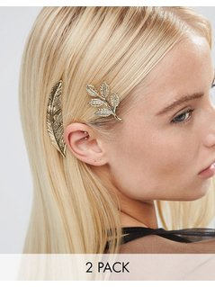 ASOS Pack Of 2 Leaf Hair Clips - Gold
