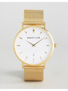 Abbott Lyon Gold Chain Kensington 40 with White Face - Gold