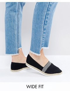 New Look Wide Fit Nautical Espadrille - Black