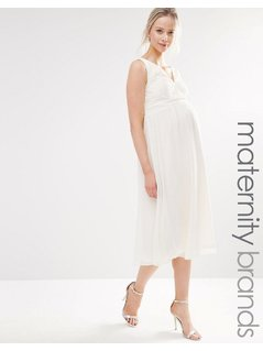 Little Mistress Maternity Lace Skater Dress - Cream