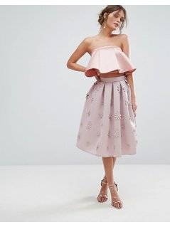 Chi Chi London Scuba Midi Skirt In 3D Floral - Pink