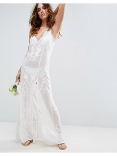 ASOS BRIDAL Floral Embroidered Split Maxi Beach Dress - Cream