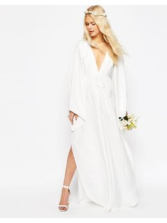 ASOS Bridal Waterfall Jumpsuit with Tie Waist - White