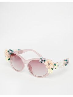 Jeepers Peepers Novelty Flower Cat Eye Sunglasses - Multi