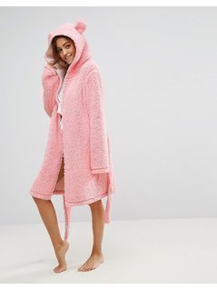 ASOS Fluffy Cloud Robe with Ears - Pink
