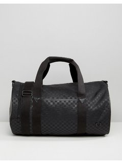 Fred Perry Checked Barrel Bag With Cordura - Black