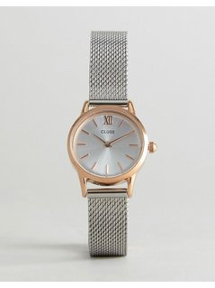 CLUSE Mixed Metal Vedette Mesh Watch - Silver