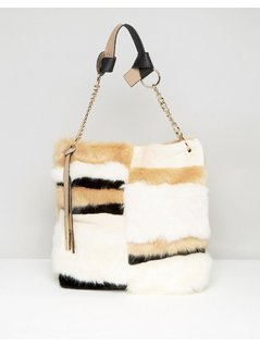 River Island Faux Fur Slouch Bag - Beige