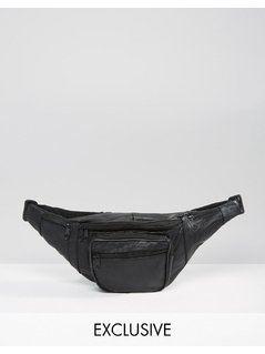Reclaimed Vintage Inspired Leather Bum Bag Black - Black