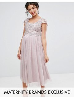 Little Mistress Maternity Crochet Bodice Prom Dress With Tulle Skirt - Purple