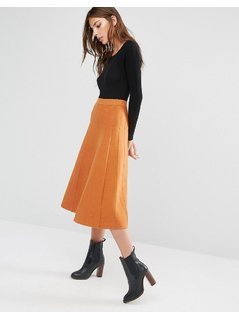 Warehouse Fit And Flare Knitted Skirt - Orange