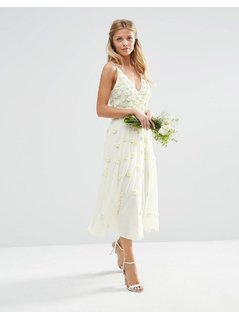 ASOS BRIDAL 3D Floral Scattered Cami Midi Dress - White