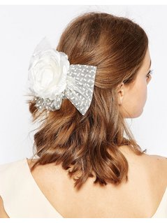 ASOS WEDDING Rose Mesh Hair Clip - Cream