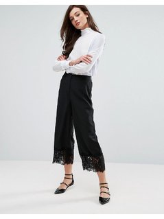 Fashion Union Wide Leg Trousers With Lace Hem - Black