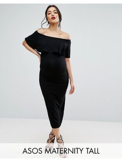 ASOS Maternity TALL Midi Bardot Pencil Dress With Ruffle - Black