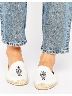 Soludos White Zebra Espadrille Smoking Slippers - White