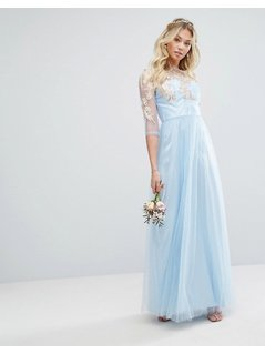 Chi Chi London Metallic Premium Lace Maxi Dress With Tulle Skirt - Blue