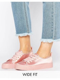 ASOS DARLING Wide Fit Satin Trainers - Beige