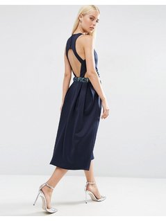 ASOS Embellished Waist Cut Out Prom Midi Dress - Navy