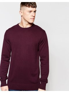 Brave Soul Crew Neck Jumper - Red