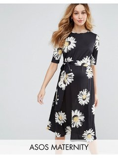 ASOS Maternity Midi Dress in Daisy Print - Multi