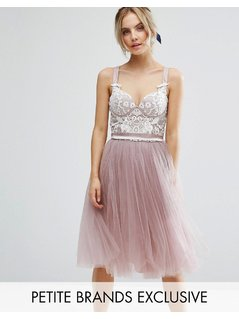 Chi Chi Petite Contrast Lace Corset Top Tulle Skirt Prom Dress - Pink