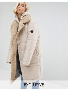Puffa Oversized Padded Coat With Faux Shearling Shawl Collar - Tan