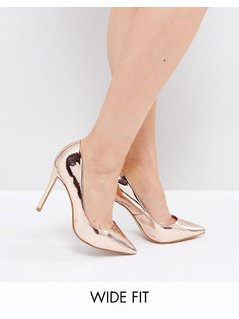 River Island Wide Fit Court Shoe In Metallic - Gold
